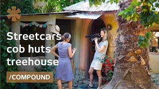 Family Home In Converted Streetcars, Diy Treehouse & Cob Huts