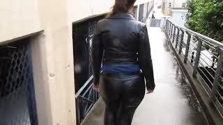 Leather Eva in her fav miss sixties leather suit