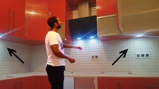 افكار بسيطة لعمل اضاءة led على المطابخ الخشبية والخزانات