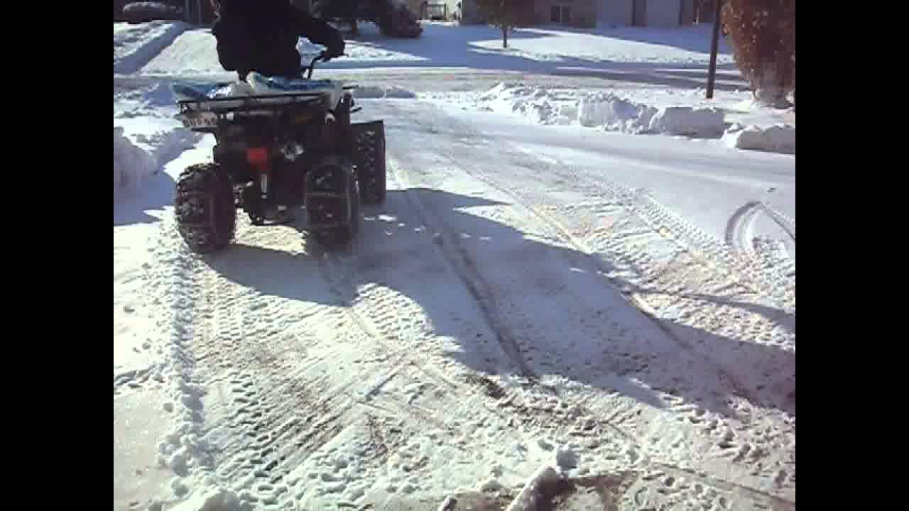 Atv Snow Plowing With Tao Tao 250 Cc 4 Wheeler Youtube