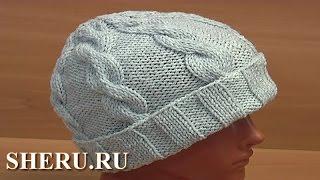 Шапка с косами и помпоном Урок 56 часть 1 из 2 Вязание спицами