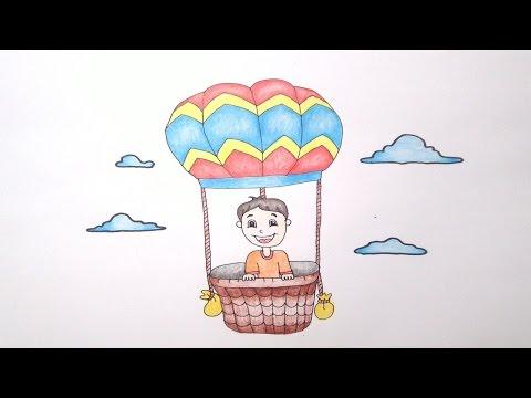 บอลลูน  สอนวาดรูปการ์ตูนน่ารักง่ายๆ ระบายสี How to draw Balloon Cartoon for Kids