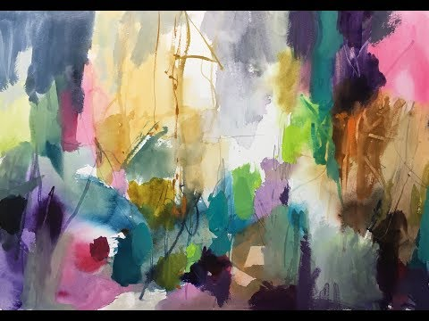 Experiments Abstraction watercolor painting Eksperimenterne Abstraktion akvarel maleri