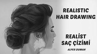 Gerçekçi saç çizimi - Realistic hair drawing