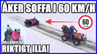ÅKER SOFFA I 60KM/H PÅ ISEN *HÖLL PÅ ATT GÅ RIKTIGT ILLA!*