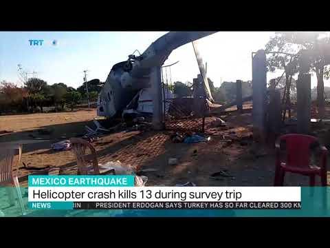 Helicopter crash kills 13 during earthquake damage survey trip