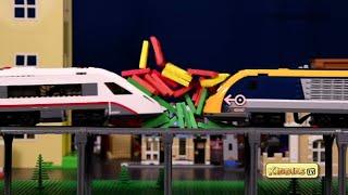 LEGO High Speed Passenger Train & Dominoes Multi Level Crash Fun   Kids video   LEGO   Kiddiestv