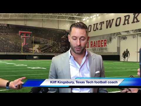 Texas Tech football coach Kliff Kingsbury speaks to the media after the bowl announcement