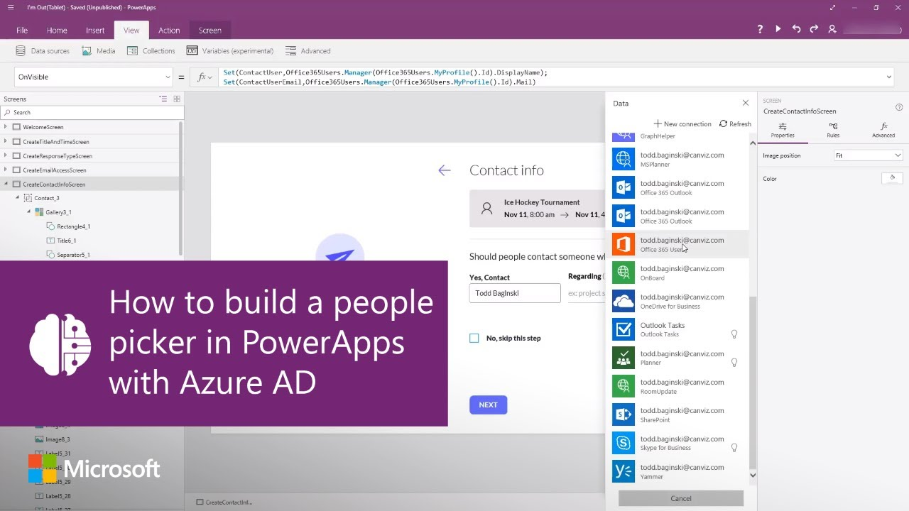 How to build a people picker in PowerApps with Azure AD