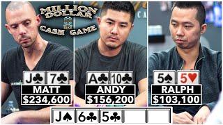 Flush vs Flush vs Set in Million Dollar Cash Game ♠ Live at the Bike!