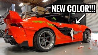 PEELING THE PAINT OFF THE SUPRA!! *NEW COLOR INCOMING*