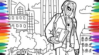 Spiderman in the City Coloring Pages, Marvel Coloring Book, How to Draw Spiderman, Coloring for Kids