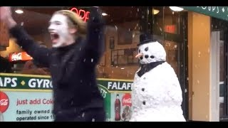 MEN ACT FUNNY WHEN SCARED - Scary Snowman Prank