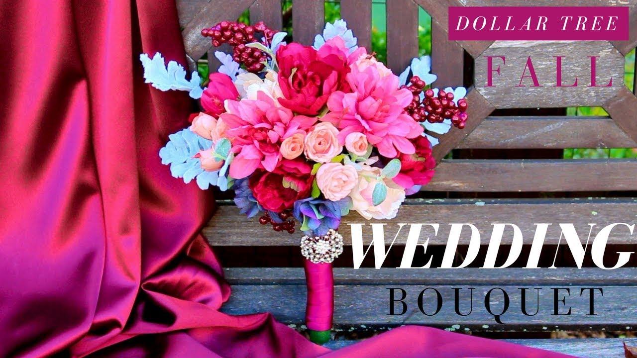 DIY Wedding Bouquet with Faux Flowers | Dollar Tree Wedding Bouquet ...