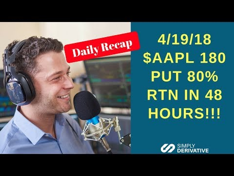 $AAPL 180 PUT 80% RTN in 48 hours!! Daily Recap  4-19-18