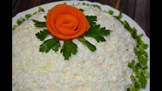 """Салат """"Снежка"""" - с мясом и грибами / Простой в приготовлении , сытный ,но в тоже время очень нежный."""