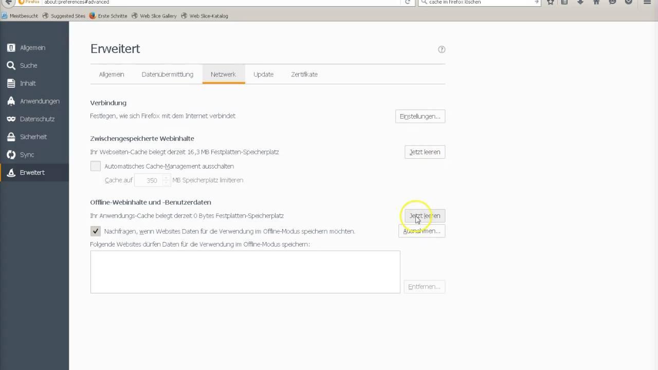 Cache Firefox Löschen