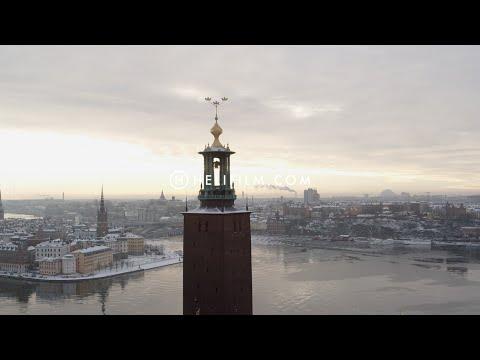 6328. Stadshuset (City Hall) Drone Stock Footage Video