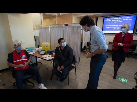 PM Trudeau visits hospital where COVID-19 vaccine given