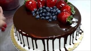 Украшение тортов | Как украсить шоколадный торт на день рождения фруктами