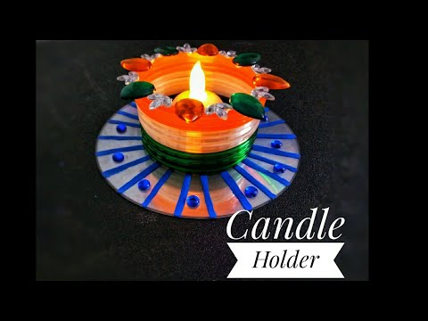 DIY CD- Bangles Candle Holder | Republic Day Special | Tea light stand