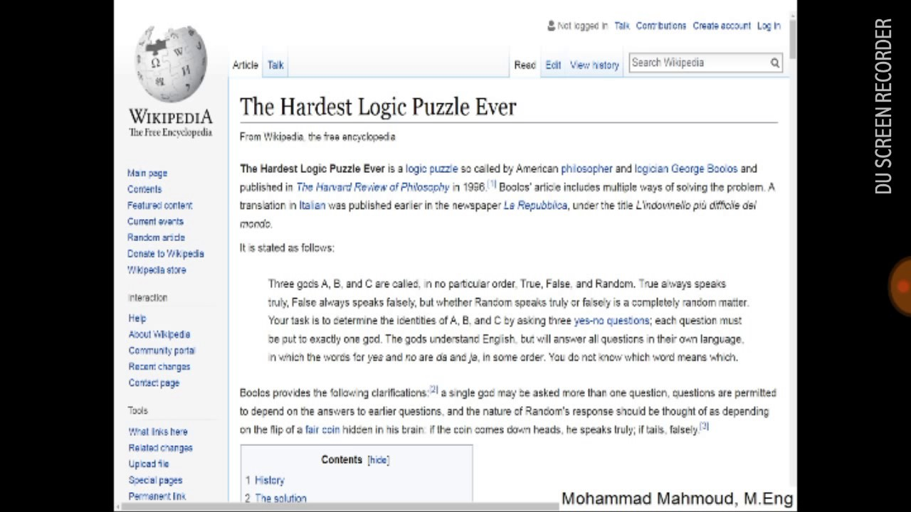 The Detailed Solution Of What's Known As The Hardest Logic Puzzle Ever