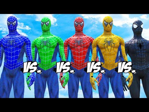 Spider-Man vs Blue Spiderman vs Yellow Spiderman vs Green Spiderman vs Black Spiderman