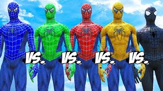 Spider-Man vs Blue Spiderman vs Yellow Spiderman vs Green Spiderman vs Black Spiderman