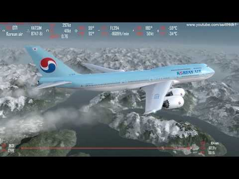 P3D v4 4 PMDG 747-8i Seoul to Vancouver CYVR approach and landing on