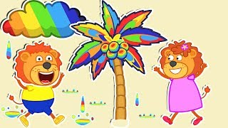 Lion Family 🌈 Rainbow World Cartoon for Kids