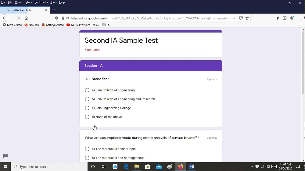Instruction For Online Exam On Google Form With Time Limit Youtube
