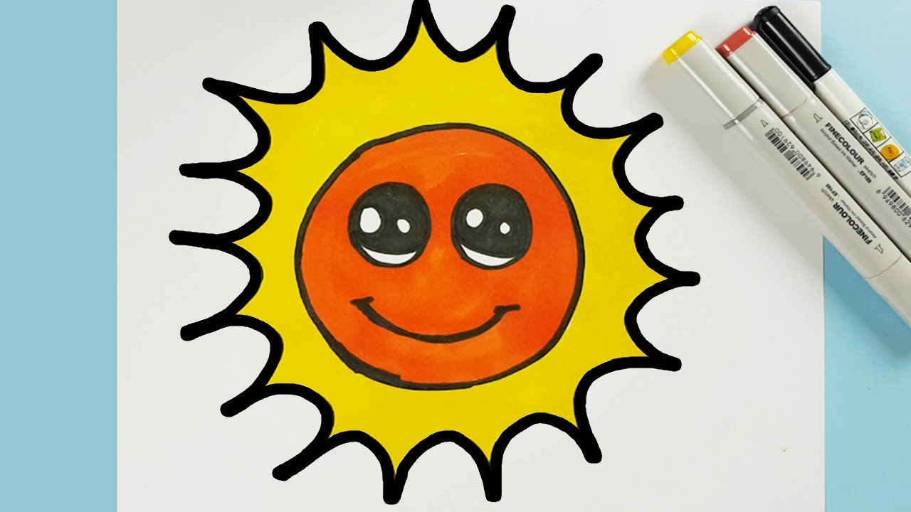 Very Easy to Draw a Cute Cartoon Sun Step by Step and ...