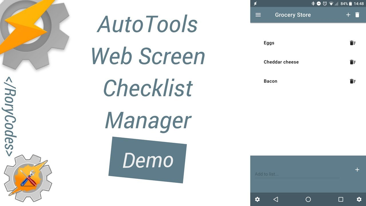 AutoTools Web Screen Checklist Demo