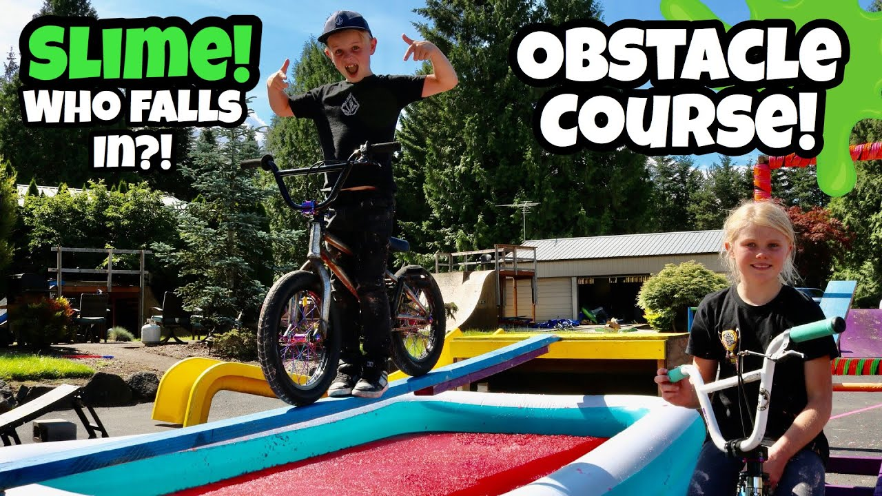 SLIME BMX Obstacle Course! *Who FALLS IN?!*