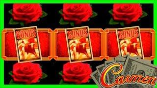 LIVE PLAY on Carmen Slot Machine with Bonus and Big Win!!!