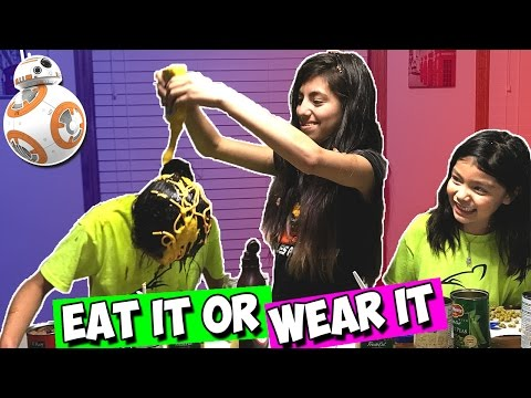 EAT IT OR WEAR IT CHALLENGE  Super Messy DOG food CAT food | BB-8 Force Band Racing Challenge