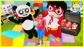 Giant Board Game Challenge with Ryan and Combo Panda! Winners Get Giant Treasure Chest!!!