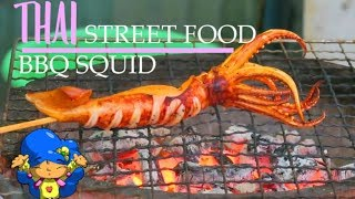 🍤 Thai Street Food | Squid Grilled over Hot charcoal - Thai BBQ Prawn and Squid