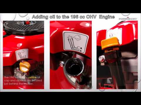 Repeat Adding oil to the Powersmart Lawn Mower 196 OHV