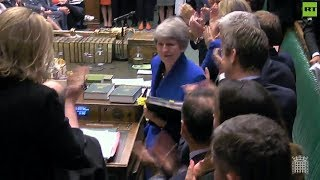 Theresa May gets standing ovation at last #PMQs