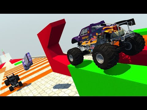 Obstacle Course Ramp With Speed Bumps - BeamNG.Drive CRASH TESTING HD