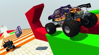 Obstacle Course Ramp (Insane Hill with Speedbumps) - BeamNG.Drive CRASH TESTING HD