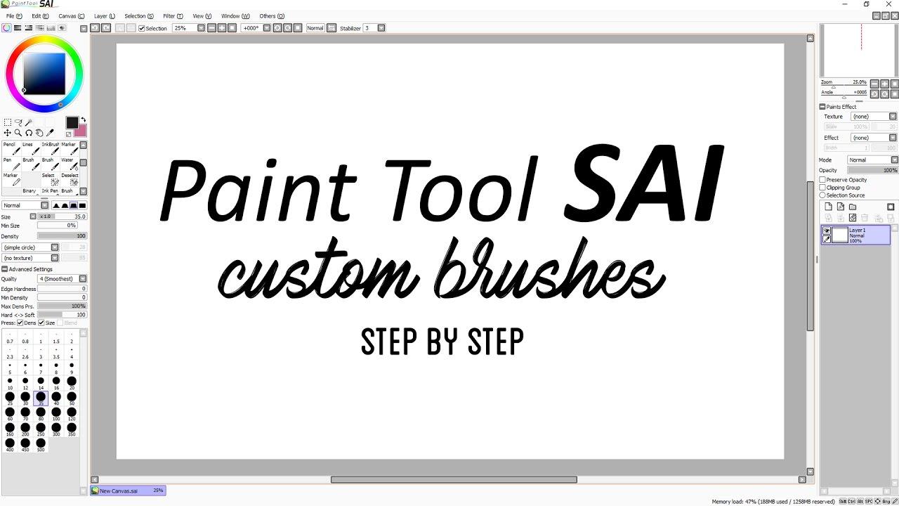 Paint Tool SAI Custom Brushes - Step by step