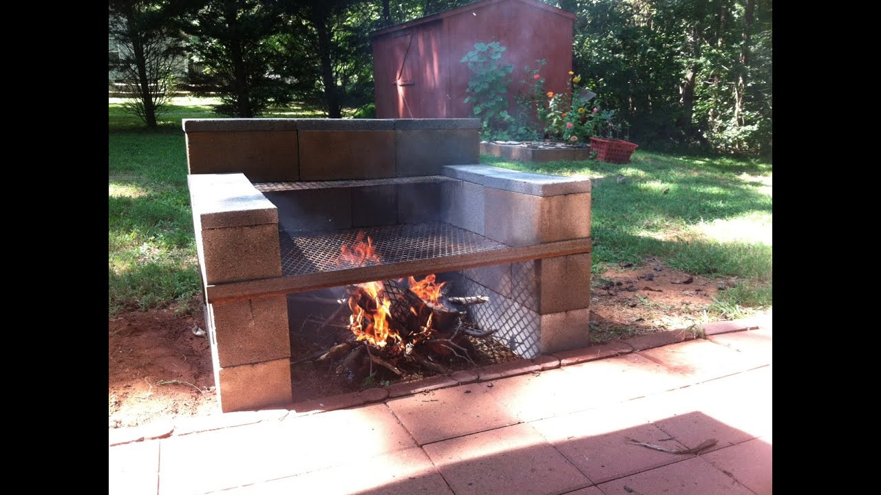 Build Your Own Backyard Concrete Block Grill: easy - YouTube