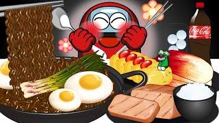밥도둑 집밥 먹방 - 어몽어스 애니메이션 먹방