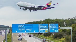 BOEING 747 crossing the AUTOBAHN at Frankfurt - 15 BIG PLANE LANDINGS (4K)