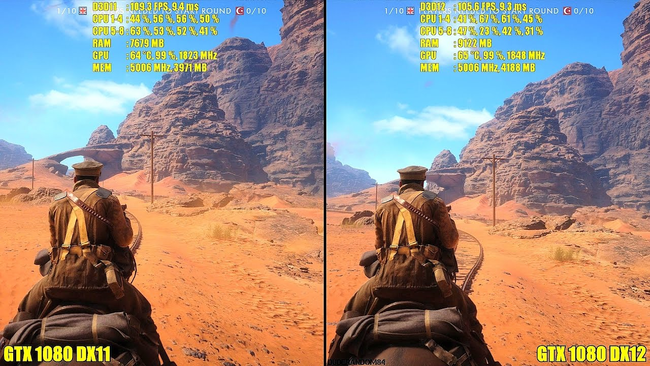 Battlefield 1 DX12 Vs DX11 GTX 1080 Ultra Frame Rate Comparison