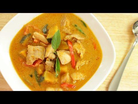 Thai Red Curry Chicken & Squash Recipe แกงเผ็ดไก่ - Hot Thai Kitchen
