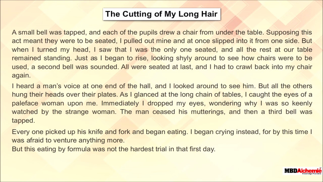 Memories of Childhood, The Cutting of My Long Hair by Zitkala-Sa  English  Class 10