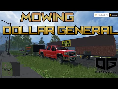 Farming Simulator 2015- Mowing Dollar General In The Mowing Map!